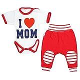 TupTam Baby Bekleidung 2er Set Mädchen Jungen Kurzarm-Body mit Spruch I love Mom Dad Jogginghose, Farbe: I Love Mom Rot, Größe: 74