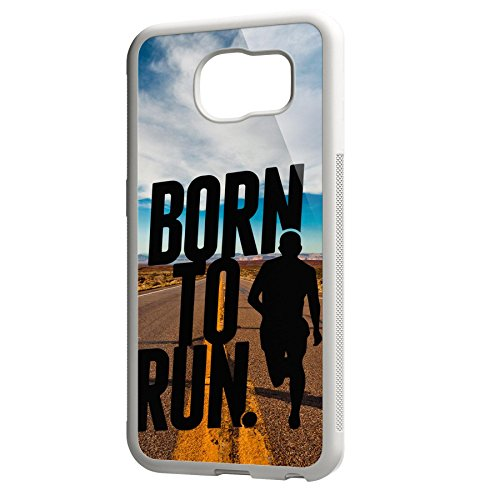 Smartcover Case Born to Run z.B. für Iphone 5 / 5S, Iphone 6 / 6S, Samsung S6 und S6 EDGE mit griffigem Gummirand und coolem Print, Smartphone Hülle:Samsung S6 EDGE weiss Samsung S6 EDGE weiss