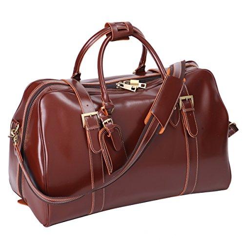 Leathario Herren Ledertasche Reisetasche Sporttasche Weekender Duffel Bag, Braun