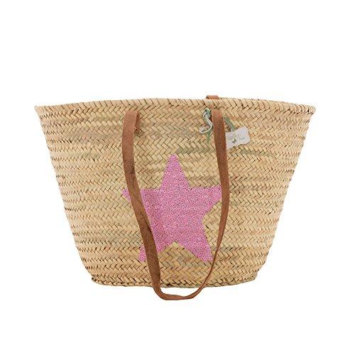 Emma Sequin Star cestino con manici lunghi in pelle Bright Pink