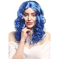 WIG ME UP ® - XR-010-PC3 Peluca Carnaval señoras largos rizos voluminosos rizado, partida media, azul 50 cm