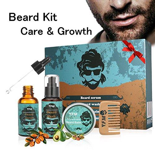 Beard Set, Luckyfine 4 Pcs Bartpflege Set: Bartöl, Bartschampoo, Bartwachs & Walnussholz Bartkamm, Bart Geschenk Set bestes Geschenk für Männer