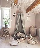 Restbuy Kinder Betthimmel Baldachin aus Baumwolle Mückenschutz Moskitonetz Insektenschutz Baby indoor Play Lesen Zelt Dekoration für Bett und Schlafzimmer (Grau)
