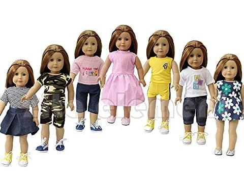 ZITA ELEMENT Puppe Kleidung-Pack 7 Tägliche Freizeit Kleidung / Outfits fit für American Girl Puppe 45-46 cm Götz Götzpuppe und andere 18 Zoll XMAS GESCHENK