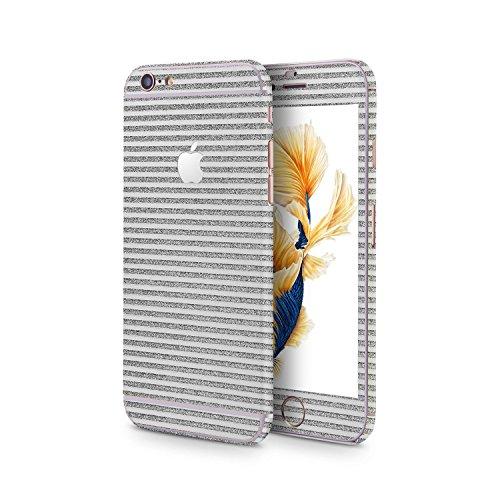 OKCS®Premium Glamoures Sticker für das Apple iPhone 6 / 6s Skin Glitzerfolie Protector Folie Schutzfolie Slim Sticker in Stripes Design in Silver Moon