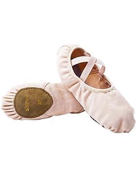 s.Lemon Rosado Elástico Lona Zapatos Zapatillas Media Punta de Ballet Baile para Niñas Mujeres Niños