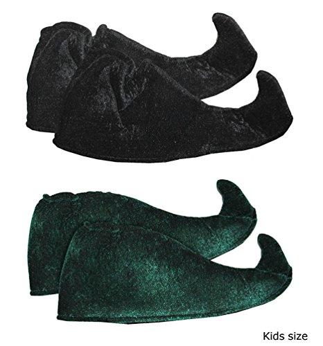 Preisvergleich Produktbild Karneval-Klamotten Schuhe Elfe Weihnachts-Elfen Schuhe Wichtelschuhe Elfenschuhe für Kinder grün Weihnachten Karneval Einheitsgröße