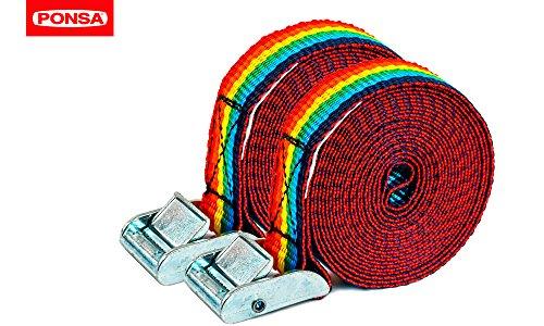 PONSA T25 - Cinta trincaje -Trinquetes Profesionales - 2 unidades. Para amarrar cargas ligeras. Longitud 3m. Resistencia rotura real 500 kg. 027048025612