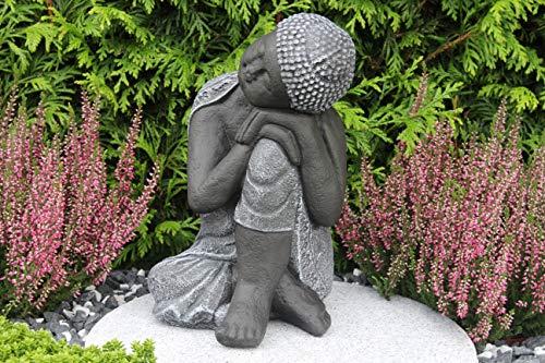 Steinfigur Buddha, Gartenfigur Steinguss Basaltgrau - 6