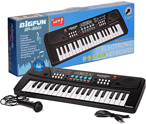 CreepyBug 37 Key Piano Keyboard Toy with Dc Power Option, Recording and Mic for Kids - Latest Model