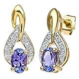 Naava Pendientes para Mujer de Oro Amarillo 9K con 18 Tanzanitas y Diamantes