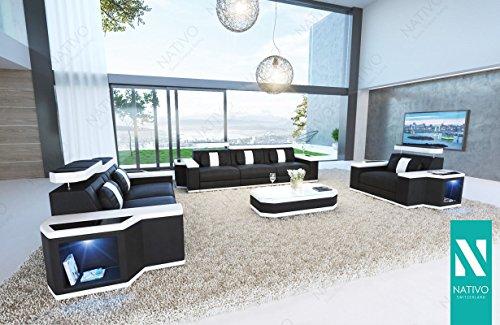 WOHNLANDSCHAFT CESARO LEDERSOFA 3+2+1 mit LED Beleuchtung NATIVO Couchgarnitur Eckgarnitur Polstergarnitur Sofa Couch Wohnlandschaft