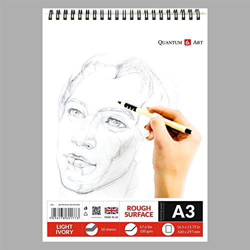 Carnet à croquis d'artiste à spirales A3 de couleur ivoire clair - 50 feuilles - 100 pages