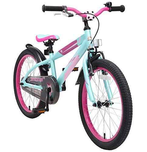 BIKESTAR Kinderfahrrad 20 Zoll für Mädchen und Jungen ab 6 Jahre | 20er Kinderrad Mountainbike | Fahrrad für Kinder Berry & Türkis