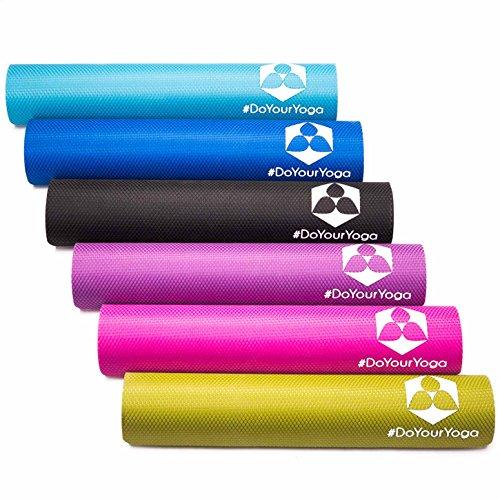 Yogamatte aus natürlichen Gummi (Kautschuk) - »Rubin« 183x61x0,4cm - sehr Rutschfeste Matte für Yoga : ideal für Yogalehrer & Yogastudios (Studio-Qualität) hellblau