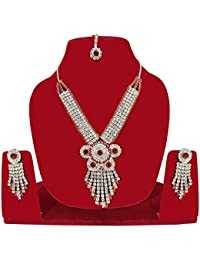 American Diamond Latest Design Stylish Traditional Party Wedding Wear Necklace Pendant Set With Earring For Women...