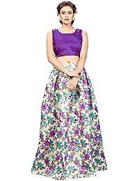 Nplash Fashion Women's Party Wear Semi-Stitched Lehengha choli(Free_Size)-lightgreen purple
