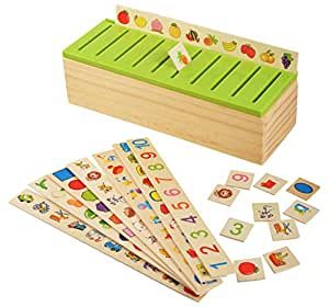 Trinkets & More - Knowledge Classification Box (Numbers, Shapes, Vehicles, Vegetables, Animals and Fruits) | Puzzle Wooden Toys 80 Pieces | Educational Toys Kids 3+ Years