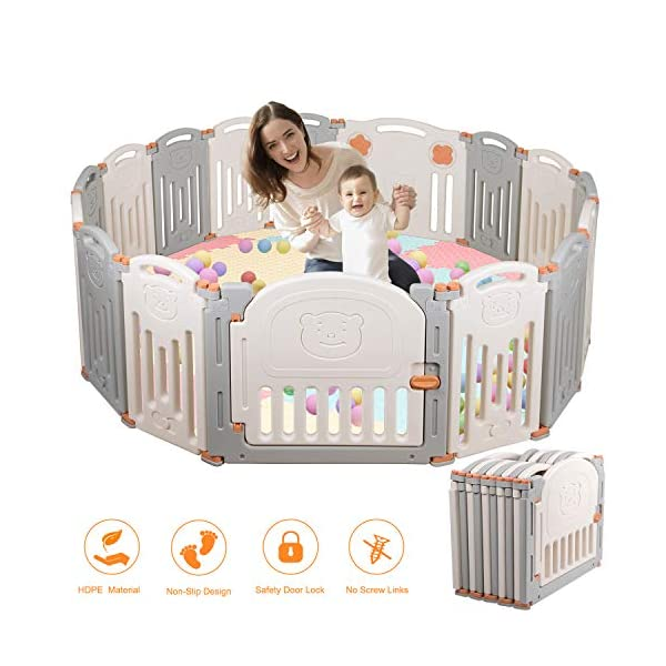 Baby Playpen,Foldable Playpen with Gates Activity Center Safety Play Yard for Babies and Kids - 14+2 Panel HDPE Indoor Outdoor Playards Fence Set Birtech 💝👼🏩Baby Playpen with Safety Material 💝👼🏩Crafted with high quality non-toxic commercial grade HDPE material widely utilized for every day products,BPA free and non-recycle material with HDPE, no any odor, perfect for your baby. 💝👼🏩Baby Playpen to Free You Hands💝👼🏩Cooking/housework or just want to rest inside the house for a while, a playpen is a great idea. You will have a play center to keep your baby safe and entertained. You can set it up easily and your kids can use their play area right away. 💝👼🏩Flexible Shape💝👼🏩You can use all 14+2 panels or less, it's up to you, this feature along with the ability to shape it be it square, rectangle, hexagon or octagon will fit anywhere in your house. 9
