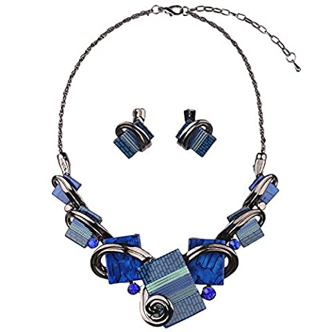 XZX Brides of color blue retro Earrings Necklace jewelry set , blue
