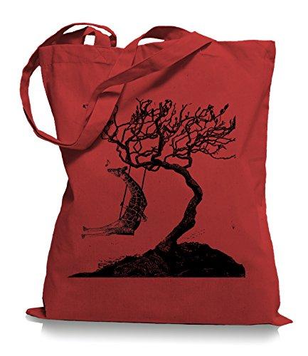 Ma2ca® Rocking Giraffe - Jutebeutel Stoffbeutel Tragetasche / Bag WM101 Classic Red