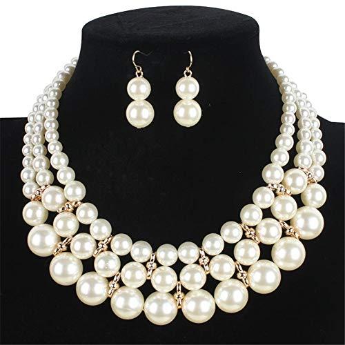 Wuxingqing Halsketten- und Ohrring-Schmuckset 3-Schicht-Simulationsperlenkette Modeschmuck-Set - Braut, Hochzeitskleid, Party Schmuck-Sets für Frauen