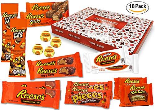 Reese – Sweet-Box – XXL Geschenkkorb | 18 verschiedene amerikanische Süßigkeiten | Peanut Butter Cups in Vollmilch und weißer Schokolade | USA Reeses Sticks, Nut Bar, Pieces, Big Cup