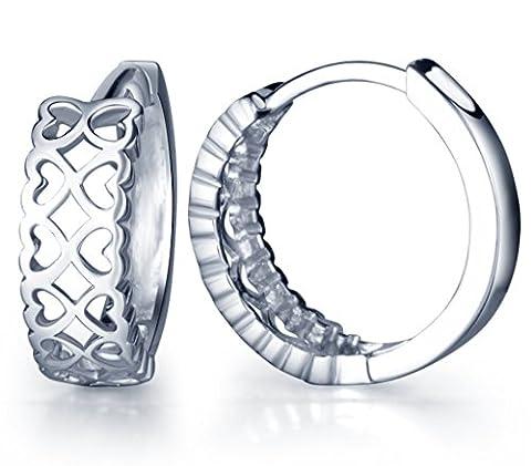 Infinite U Classic 925 Sterling Silver Infinity Shape Hollow Love Heart Hoop Earrings for Women/Girls (with Gift