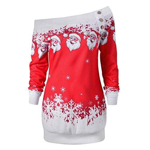 ten Trägerlos pullover Schneeflocke Druck Oberteile DüNnen Strickpullover Langärmliges langes Blusenshirt Schulterfrei reizvolle Kapuzenpullover Sweatshirt (Weihnachten Rot, 2XL) (Schneeflocken-pullover)
