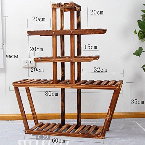 Affichage Extérieur En Bois Extérieur De Patio De Fleur De Pin Multi-rangée Avec L'escalier D'usine De Roues 60 * 96CM ( taille : With wheels )