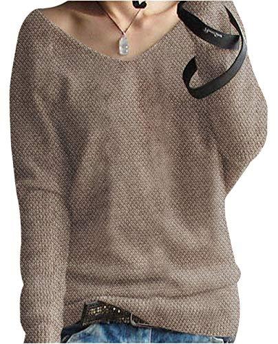 LinyXin Cashmere Damen übergroße Winter Pullover lose V-Neck Fledermausärmel Warm Cashmere Pullover Gestrickter Pullover aus Wolle (S / 34-44, Kamel)