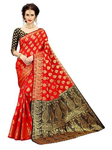 Indian Beauty Women's Festival look Banarasi Silk Saree (red-black)