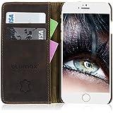 Blumax Ledertasche im Bookstyle echt Lederhülle mit Kreditkartenfach Wallet Case für iPhone 6 & 6s ( Antik Kaffee Braun )