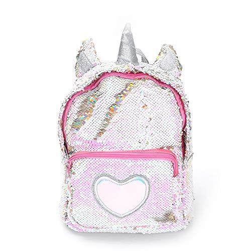 kakakooo Borsa Daypack 1PC Cream Unicorn Capo Carino Paillette Unicorn Zaino Borsa Morbida 3D dell'unicorno Scuola Viaggio Computer Portatile (Argento)