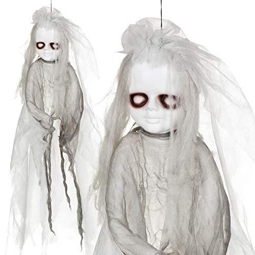 Halloween Figur ''Horrorpuppe I'' mit Licht - zum Aufhängen | Halloween Deko | Party Zubehör | Geister | Skelett | Halloween Accessoires | Gespenst | Zombies | Party Ausstattung | Totenkopf Deko | Hänge Deko | Preis am Stiel®