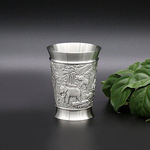 Oriental Zinn–Zinn baijiu Cup w/grifflosen für Spirituosen (Dose klein)–Pure 97% bleifreies Zinn BB7handgeschnitzt Schöne, geprägt mit Elefanten handgefertigt in Thailand