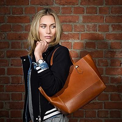 SID & VAIN® sac à main avec anse longue TRISH femme - grand sac porté épaule - sac des dames sac femme sac cuir véritable