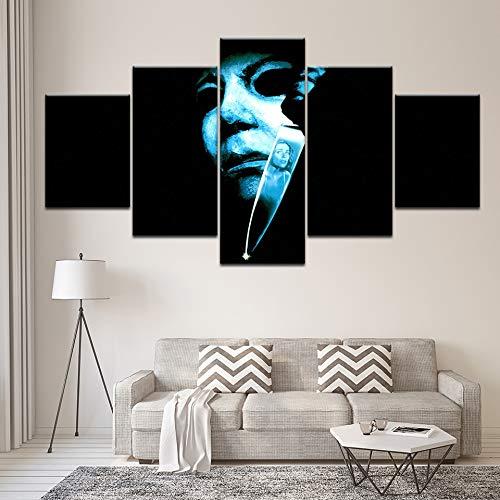 juntop Leinwandbild Halloween: Der Fluch Von Michael Myers 5 Stück Wandmalerei Modular Wallpapers Poster Print Interior(Kein Rahmen) (Halloween Wallpaper Michael Myers)