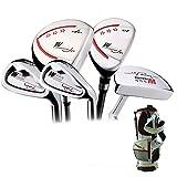 Crestgolf Junior Golf set completi pacchetto --- gamma da età 3-12, da 5mazze, libero invia 2palline da golf ,2Head Covers ,1paio di maniche, Ragazzi ragazza, black-white