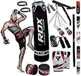 RDX Punch Bag Filled Set Kick Boxing MMA Heavy Training Muay Thai Gloves Punching Mitts Hanging Chain Wall Bracket Anchor Rope Martial Arts 4FT 5FT