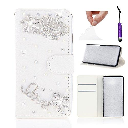 Doogee Nova Y100X Hülle, CaseFirst Luxus Diamant Dekor Handyhülle Stoßfest Brieftasche Lederhülle Magnet Cover Anti-kratzer PU Leather Wallet Case mit Karte Slots (Doogee Nova Y100X)