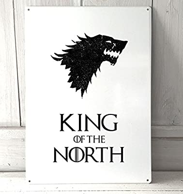 King of the North, game of thrones quote A4 retro metal sign door wall art