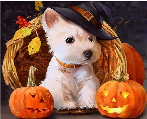 len Halloween Hund DIY Malen Nach Zahlen Tiere Moderne Farbe Leinwand Einzigartiges Geschenk Wohnkultur 40X50 cm R1263 ()