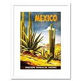 Voyage Mexique Cactus Desert Sun vintage rétro publicité Affiche encadrée B12X 1627 12 x 16 in - 30.5 x 40.7 cm blanc