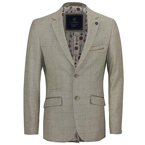 Cavani Herren 's New Vintage Smart Casual Eiche Tan groß kariert Slim Tailored Fit Designer Blazer Jacke, Beige