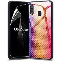 OKZone Funda para Samsung Galaxy A20 / A30 [con Protector Pantalla],Funda con Tapa Trasera de Cristal Templado Dureza 9H, Marco de TPU Flexible con Parachoques, Absorción de Golpes (Naranja)