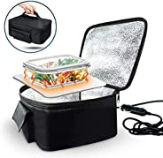 Zone Tech Food Heating Lunch Box - Premium Quality Portable Electric Insulated Black Lunch Box, Food Warmer an