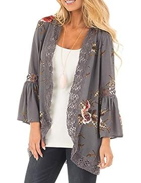Chaqueta con estampado floral para mujer, apertura frontal con encaje, chaqueta kimono, estilo informal holgado...