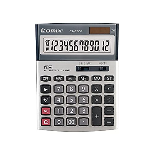 Comix Standard Function Desktop Calculator, 12 Digits ,CS-3302 Grey
