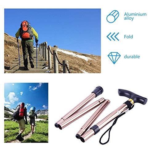 unitedheartes bastón de metal de aluminio de cuatro secciones bastón de viaje plegable ajustable fácil plegable bastón de trekking para acampar café